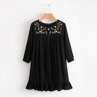 [OL] Spring Autumn Lantern Sleeve Embroidery Flower Dress European Black Ruffles Round Neck Dresses Women's Vintage Tops A076