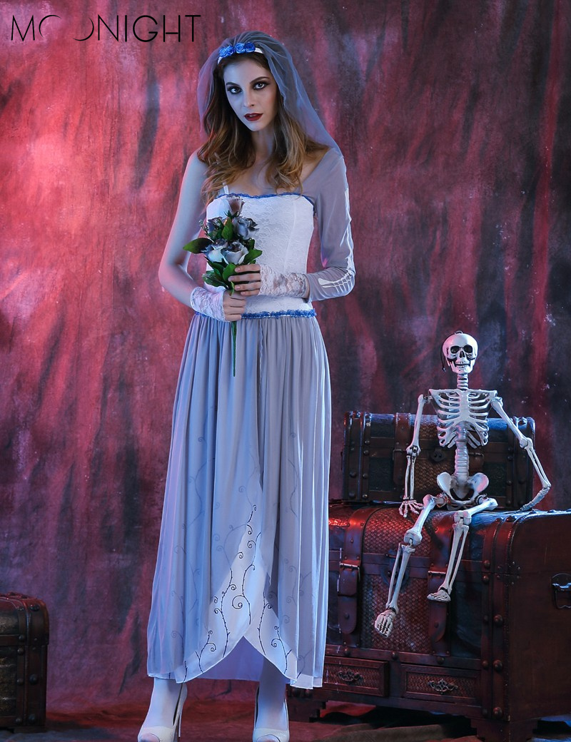 MOONIGHT Ghost Bride Dress Sexy Gothic Manor Zombie Wedding Corpse Costume Adult Costume Halloween