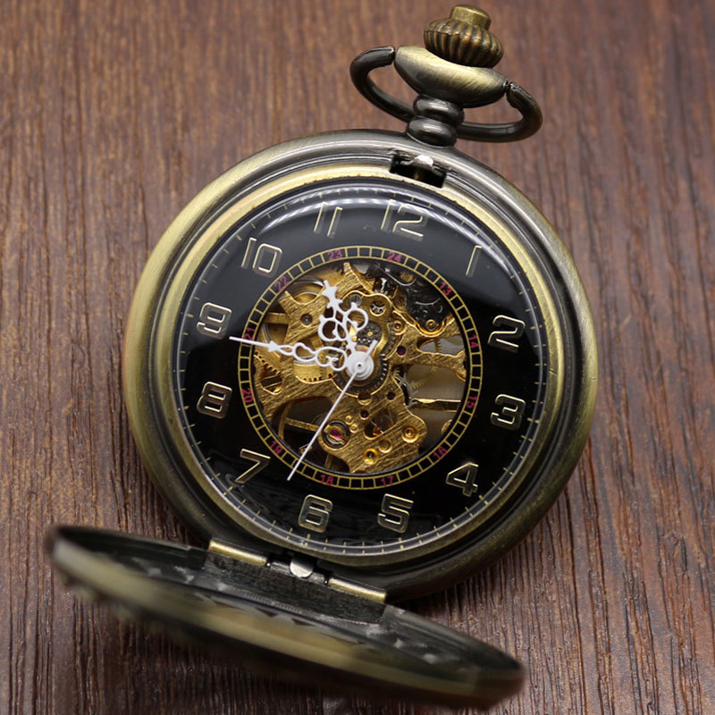 Vintage Hollow Bronze Chinese Knot Mechanical Hand Wind Steampunk Pocket Watch Mens Womens Pendant With Fob Chain Gifts P835C