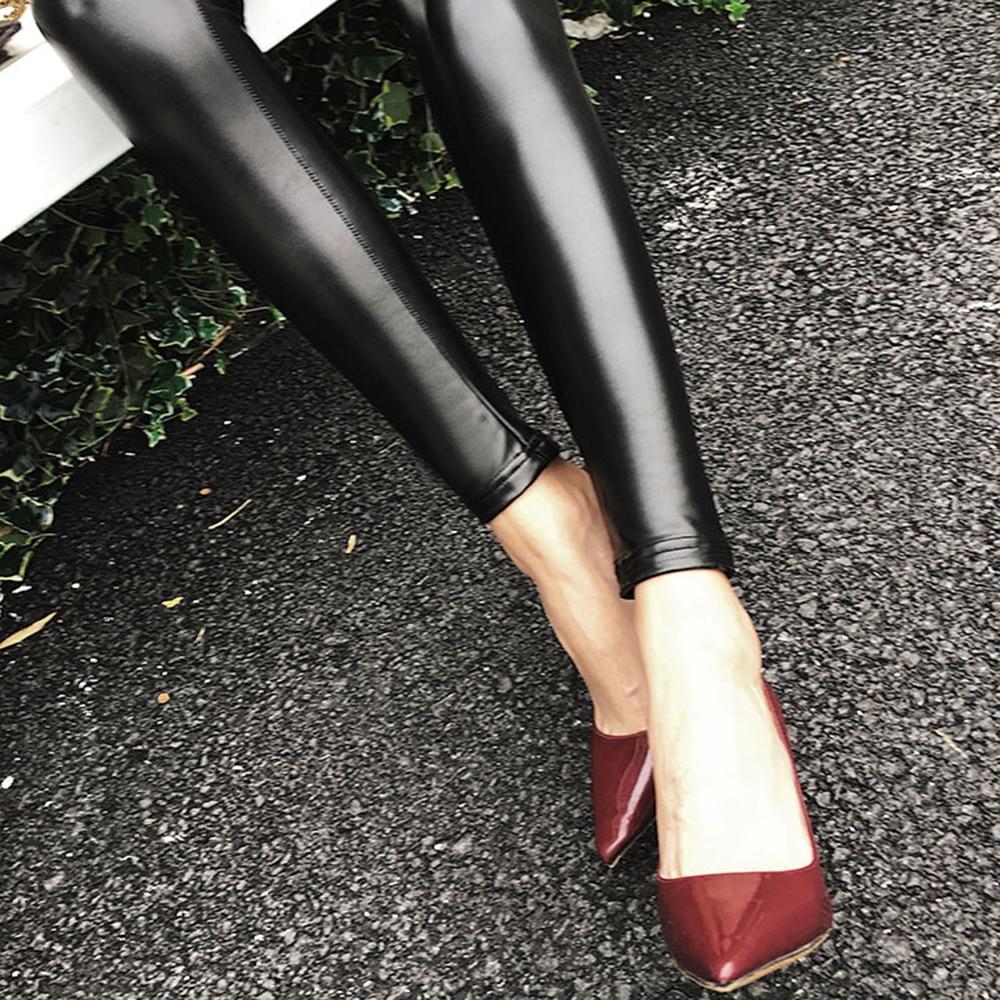Winter Leather Leggings Women High Waist Warm Black Leggins Punk Push Up Legging