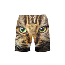 VEEVAN Men Beach Shorts Animal Cat 3D Printing Board Shorts Quick-dry Short