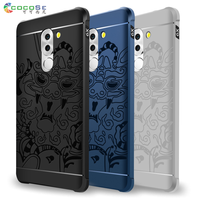 Original COCOSE Silicon Case for Huawei Honor 6X high-quality 3d Carved Matte TPU Anti-knock Phone Back Cover Coque for Honor 6X
