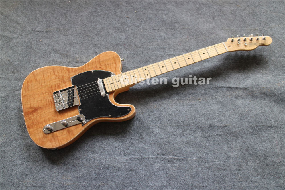 Top quality custom shop natureelectric guitar with maple top and back, cheap factory guitar
