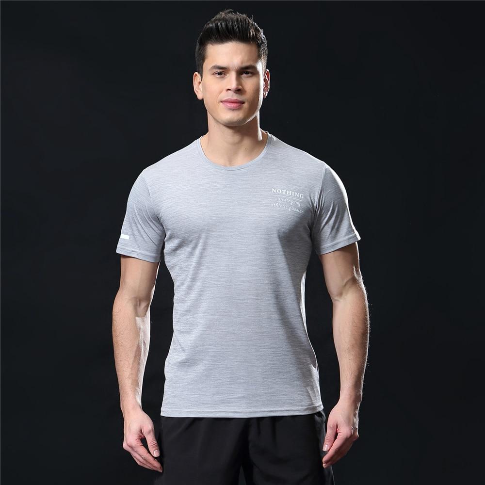 GANYANR Running T Shirt Men Basketball Tennis Sportswear Tee Sport Fitness Gym Jogging Tops Slim Fit quick dry Exercise Training 35