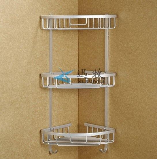 Free shipping aluminum 3 tier corner rack shower shelf for storage ...