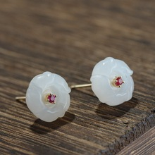 S925 silver plating process for women fashion exquisite hetian jade flower earrings earrings wholesale character silver product s925 pure silver jewelry fashion earrings wholesale handmade lady hetian jade earrings