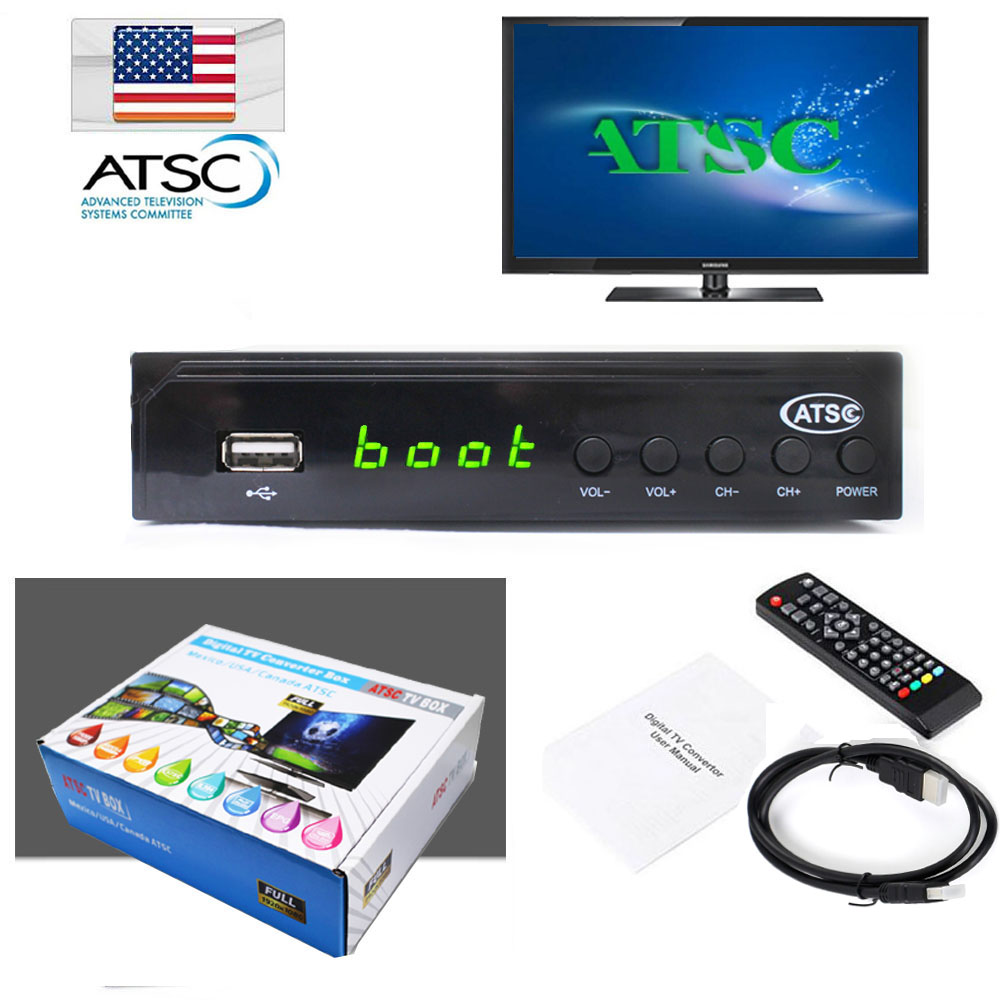 1080P ATSC Terrestrial Broadcast Digital Analog Converter Box Receiver Set Top Box With  ...