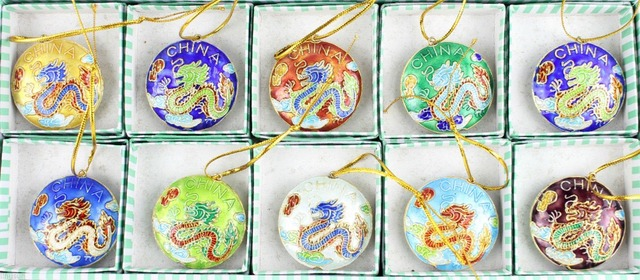 10pcs chinese handmade cloisonne dragon key chain and christmas ornaments charms