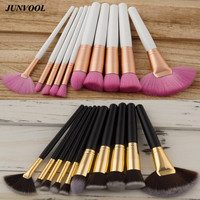 Professional 10pcs Makeup Brush Pince Maquiagem White Rose Gold Foundation Powder Cosmetic Make Up Fan Brushes