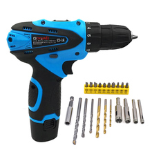 hot deal buy 12v electric screwdriver lithium battery electric drill rechargeable cordless screwdriver power tools with 21 drill bits tools