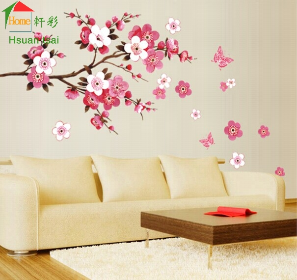 China style red peach flowers vinyl wall stickers home decor rooms ...