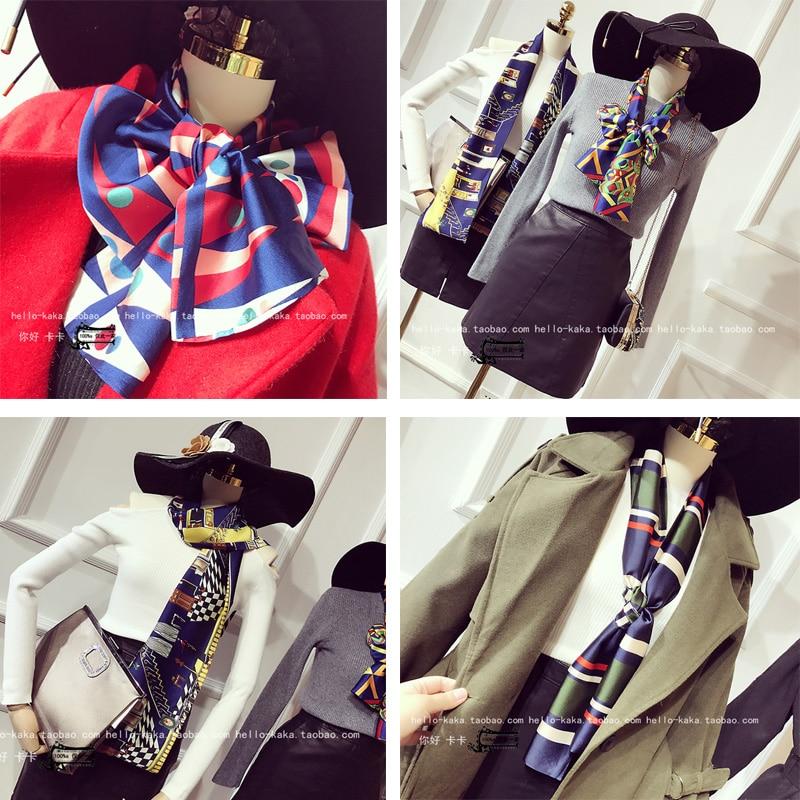 Luxury Women Silk Satin Scarf Winter All Match Scarves Silk Coat Collar Shawl Mujer Women Luxury Satin Hat Decor Shawl Scarf 232