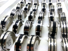 100pcs bulk lot 8mm 316L Stainless Steel Wedding Rings With Black Enamel Design Rings For Men Jewelry