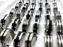 Anillos de boda de acero inoxidable para hombre, lote de 100 Uds. De anillos de boda de 8mm y 316L con diseño de esmalte negro, joyería