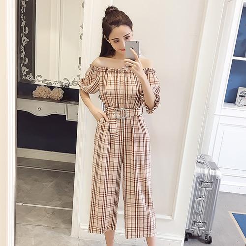 2018 Summer Style Fashion Sweet High Waist Wide Leg With Belt Jumpsuits Elegant Macacao Feminino Temperament Plaid Romper 2