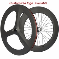 700C Fixed Gear Carbon WHeelset 70mm Tri spoke wheel Clincher Track 88mm Bike Wheels Hot 3 Spoke Carbon Wheels 23mm Width