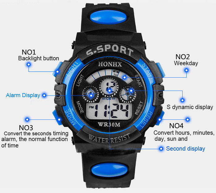 GEMIXI 2018 Fashion And luxury  Waterproof Children Boy Digital LED Quartz Alarm Date Sports Wrist Watch  Oct.8 2