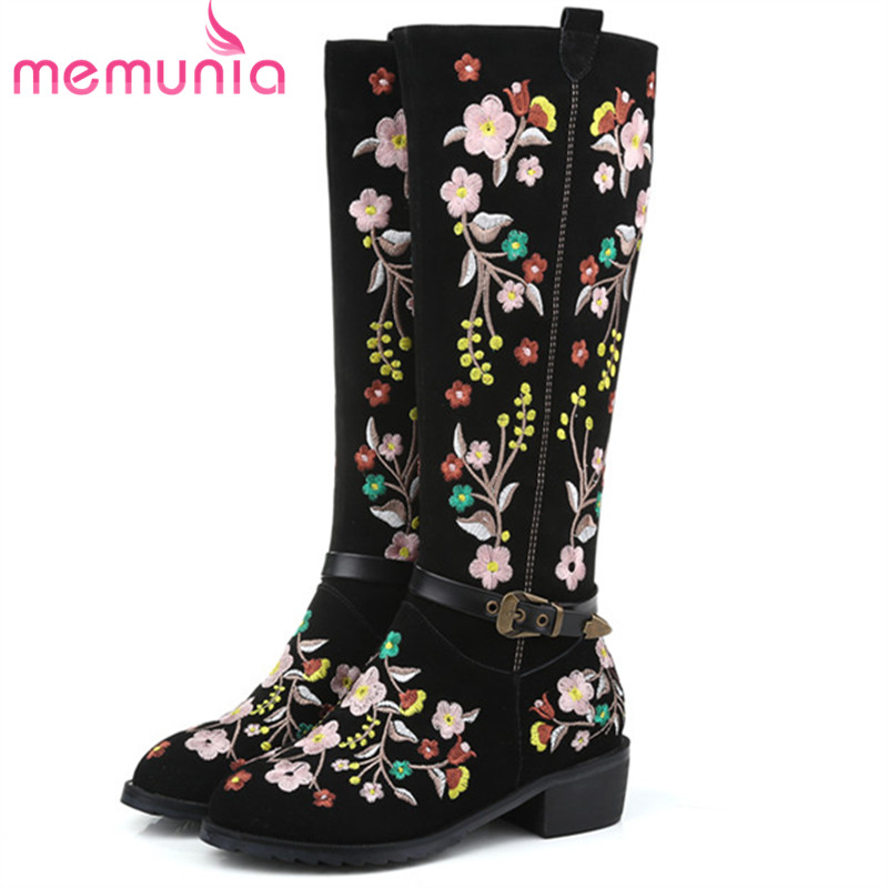 MEMUNIA Large size 34-45 knee high boots for women in spring autumn cow suede embroidery fashion boots female zip memunia 2017 autumn new arrive long boots for women solid zip knee high boots large size 34 43 fashion high heels boots