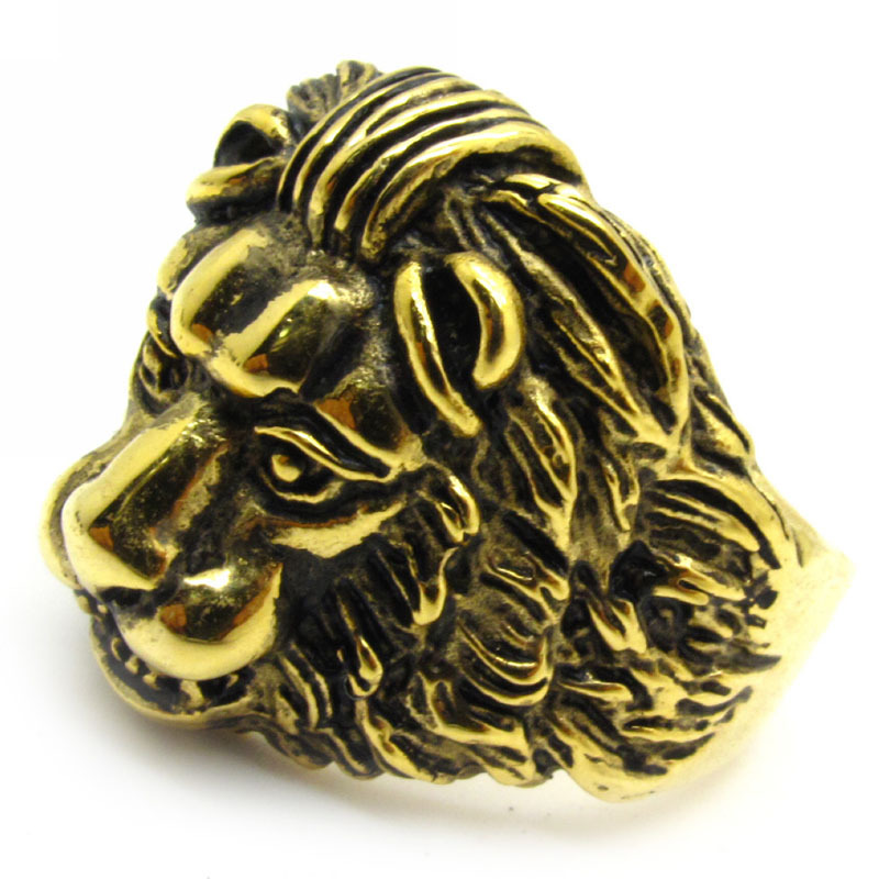 pinky mens genuine i yellow head ring other lion rings face diamond gold