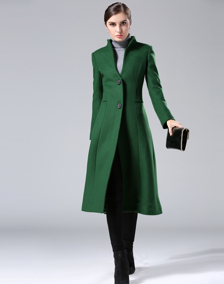 Cashmere coat female 2016 winter new arrival women's dark green wool coat collar single-breasted Slim long woolen coat plus size