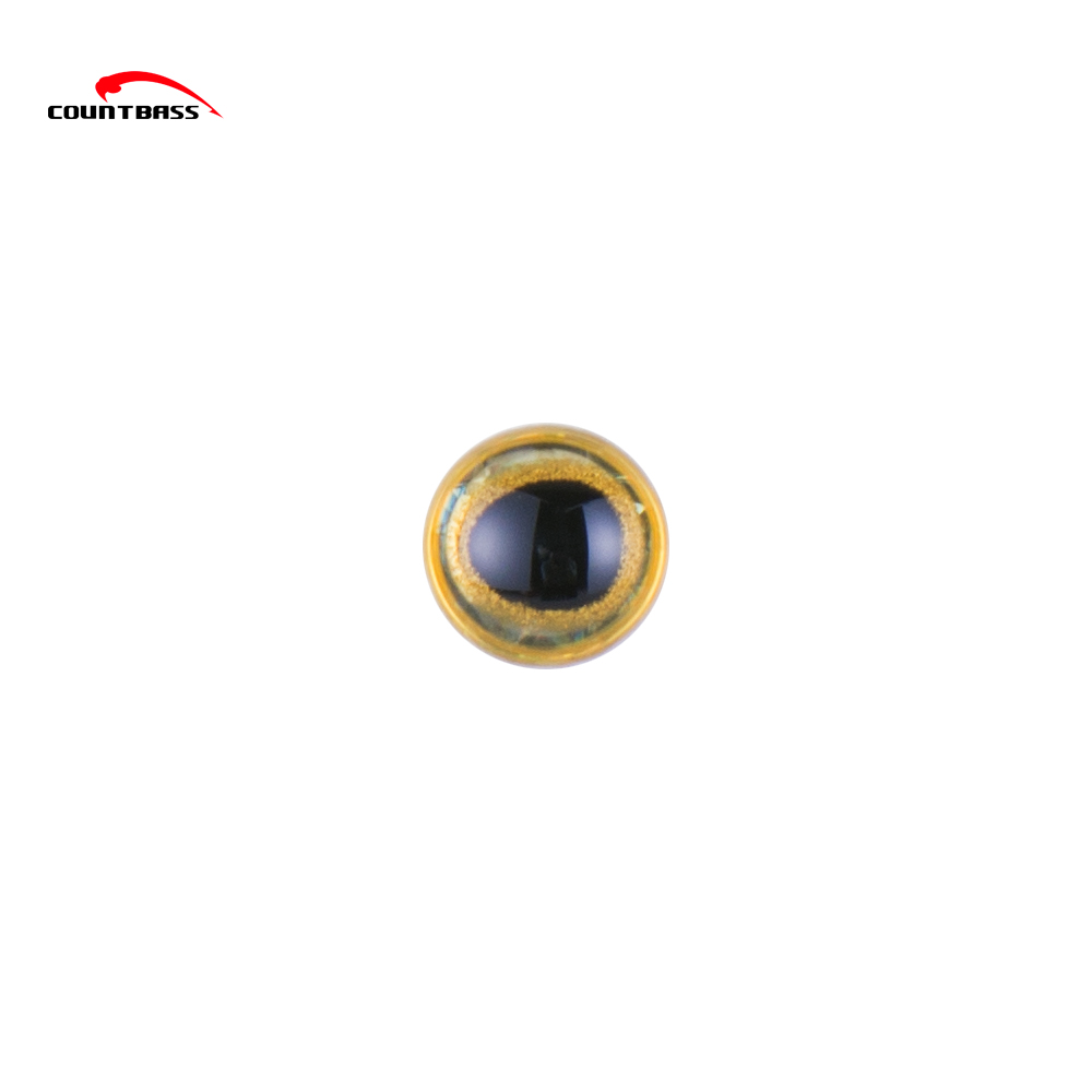 7mm Silver Molded 3D Holographic Fishing Lure Eyes,Tear Drop Pupil With Gold Rims 3D Fishing Lure Eyes,Bass Flying Jigs Eyes