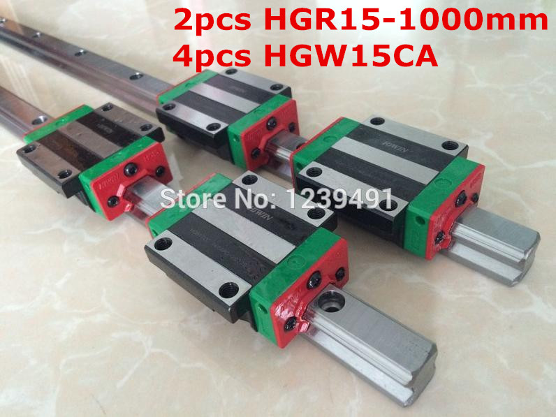 2pcs original hiwin linear rail HGR15- 1000mm  with 4pcs HGW15CA flange block cnc parts free shipping to argentina 2 pcs hgr25 3000mm and hgw25c 4pcs hiwin from taiwan linear guide rail