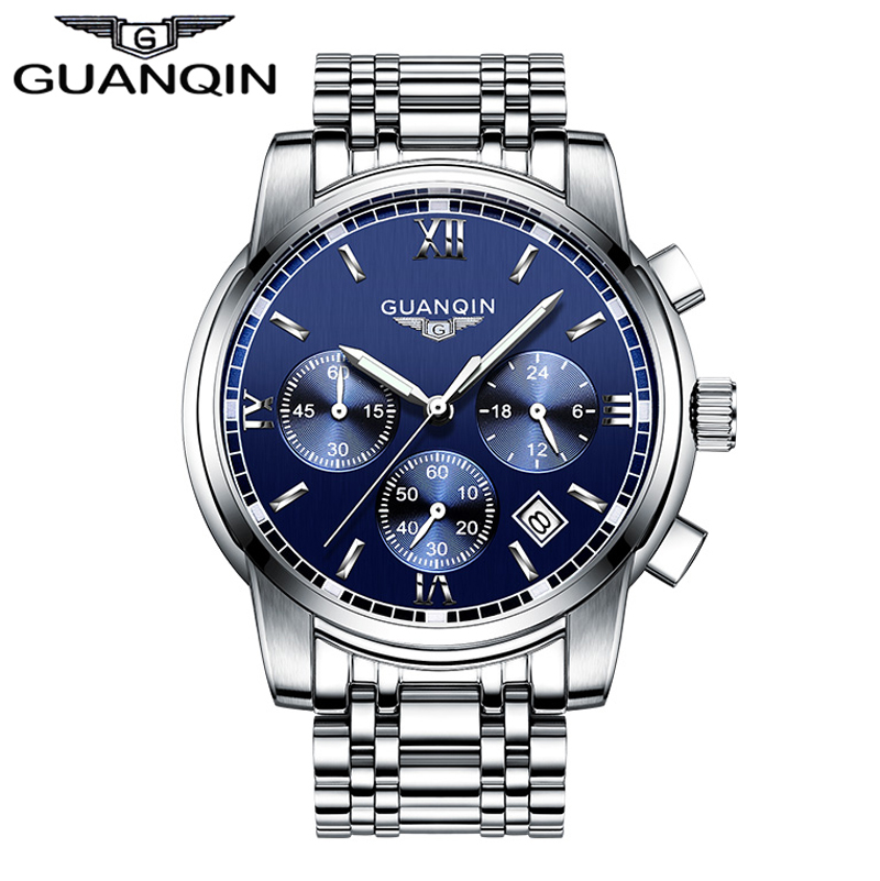 2017 Mens Watches Top Brand Luxury GUANQIN Three Dial Work Stainless Steel Waterproof Luminous Men's Watches Quartz-watch Men didun mens watches top brand luxury watches men steel quartz brand watches men business watch luminous wristwatch water resist