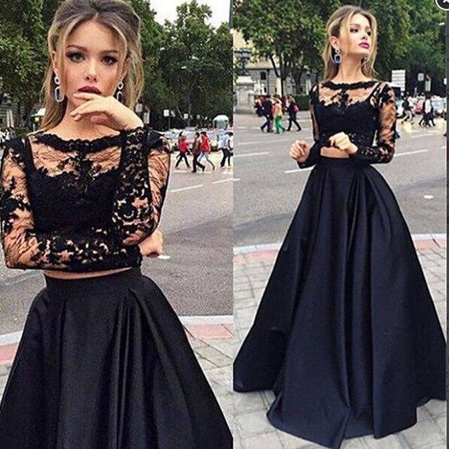17e74f97ad851 2017 Siyah İki adet uzun Kollu Abiye Dantel Balo Abiye 8 sınıf lise  Mezuniyet Elbiseler Kat