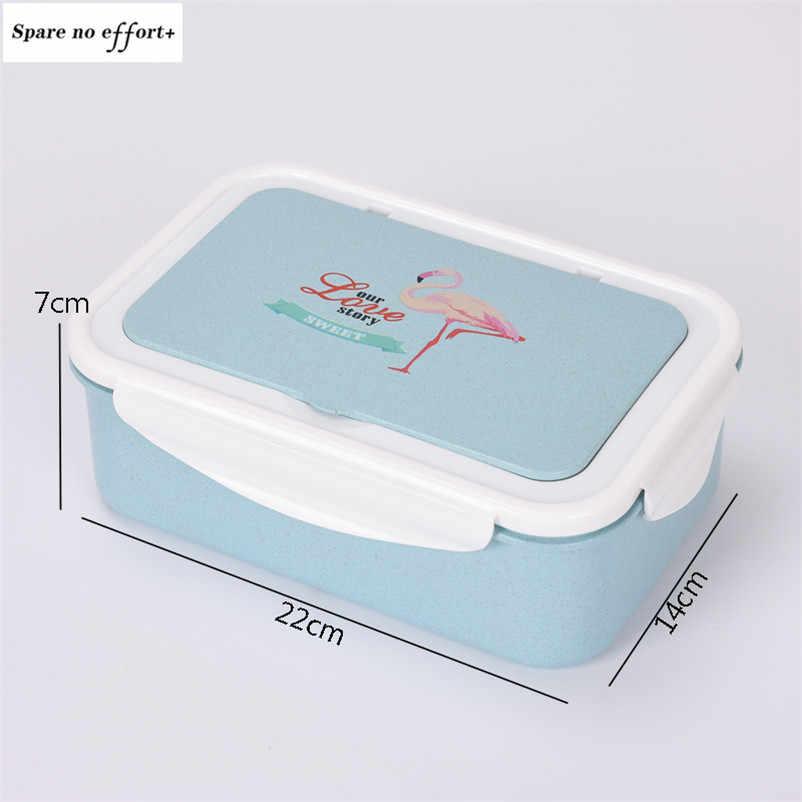 Trigo Microondas Bento Lunch Box Picnic Food Recipiente de Frutas Recipiente Caso Caixa de Armazenamento para As Crianças Adulto Ao Ar Livre Jantar Organizador