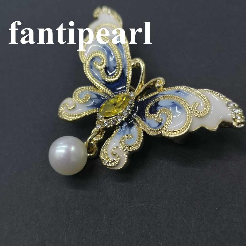 Cute pearl Brooches Rhinestone Enamel butterfly  Crystal Jewelry Men Women's Corsage Clips For Suit Scarf Dress Z060