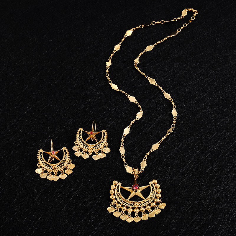Ethlyn 2018 Gold Color Beautiful Ethnic Wedding Luxury Jewelry Sets for Women Accessories Lock Star Big Necklace/Drop Earrings