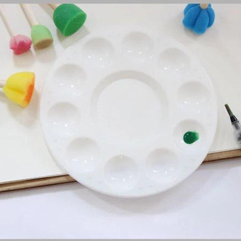 1 Pcs Round 10 Hole PP Plastic Round Art Gouache Pigment Palette Multi-color Palette Tool Art Supplies