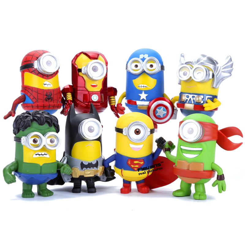 3D Göz Minion Cos Avengers Süper Kahraman Iron man Hulk Thor Spriderman PVC Aksiyon Figürleri Çocuk Oyuncakları 8 adet/takım DSFG258