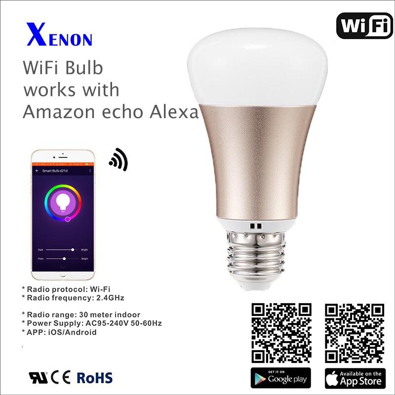 Xenon Wireless wifi E27 LED RGB Light Smart Bulb Lamp works with Amazon echo Alexa xenon wi fi bulb smart wreless bulb app control rgb e27 led lamps hot sale smart led lighting bulbs works with amazon echo alexa