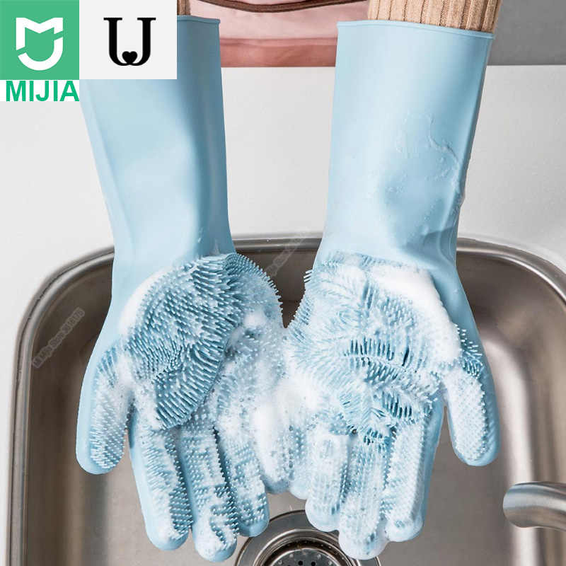 Xiaomi Youpin Kitchen Silicone Cleaning Gloves Magic Silicone Dish Washing Gloves Easy Household Scrubber Rubber Cleaning Gloves