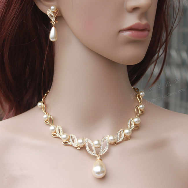Gold Tone Cream Pearl Water Drop Pearl and Rhinestone Crystal Bridal Necklace and Earrings Jewelry Sets