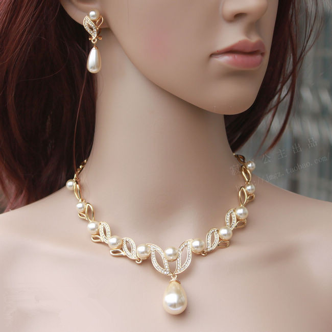 Gold Tone Cream Pearl Water Drop Pearl and Rhinestone Crystal Bridal Necklace and Earrings Jewelry Sets a suit of chic faux pearl rhinestone leaf necklace and earrings for women