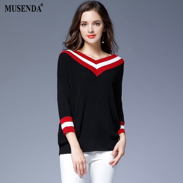 Fashionnable red white striped black loose sweater