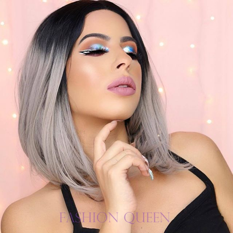 ФОТО Middle part short bob lace front wig ombre grey synthetic wigs dark roots black to grey bob cosplay woman wig free shipping