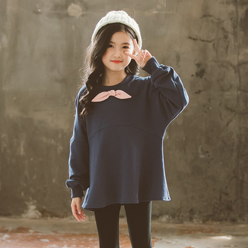 Girls Autumn Hoodie 2018 Trumpet Sleeve Cotton Sweatershirts Loose Children Spring Tops Royal Blue Pullover Outer Wear Clothes