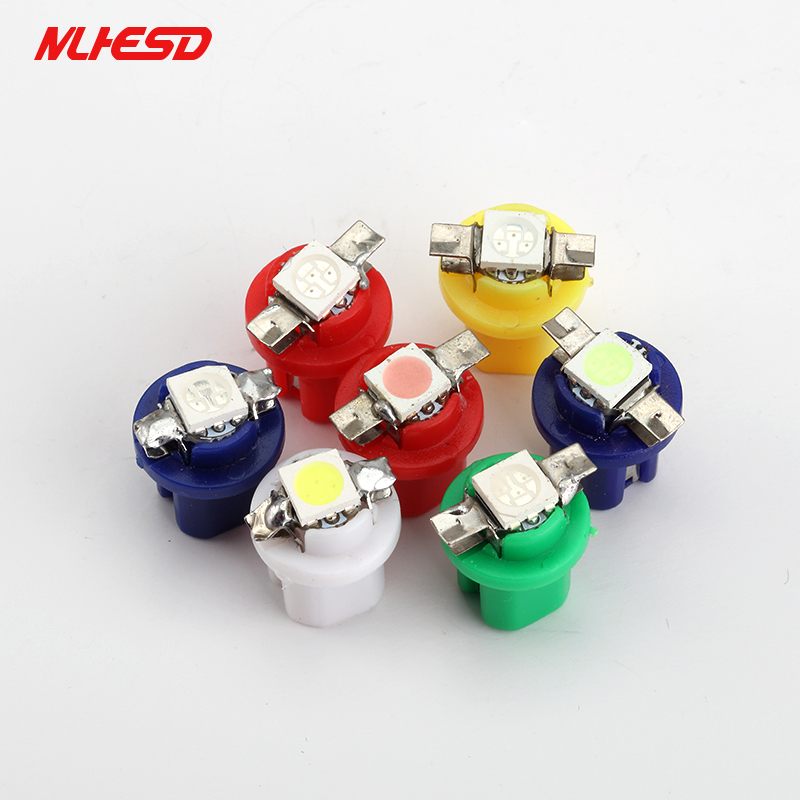 10Pcs B8.5 1SMD 5050 LED T5 Car Interior Wedge Indicator Instrument Lights Gauge Dashboard Lamp 12V White Yellow Red Blue Green uxcell 10 pcs ice blue 3020 smd led vehicles car dashboard dash light lamp internal