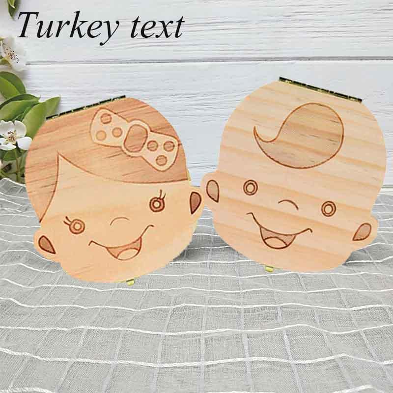 Turkey/ English/Dutch  Baby Tooth Box Wooden Milk Teeth Organizer Storage Boys Girls Save Souvenir Case Gift  Tooth Organizer