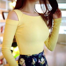 Free shipping Hole 2016 strapless tight t-shirt women's sexy long-sleeve basic shirt top knitted