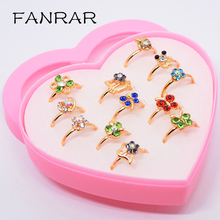 Фотография FANRAR Fashion Jewelry 12pcs Mixed Lovely Animal Flower Gold Color Crystal Adjustable Baby Kids Girls Rings cocktail Party Gift