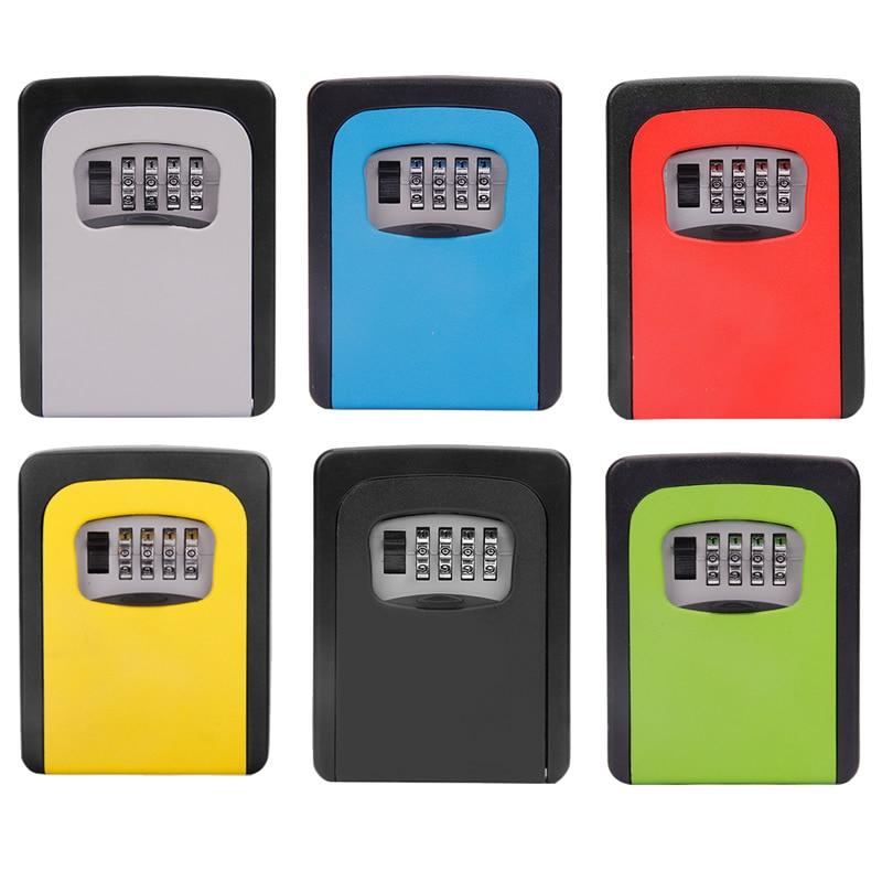 Color Key Safe Steel Storage Box With 4-Digit Password Metal Secret Organizer Home Office Apartment Garden Spare Keys Hidden Box