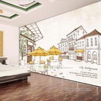 City Building Photo Wallpaper For Coffee Shop Living Room