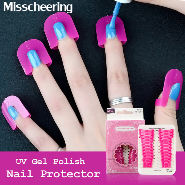 26pcsset Plastic Nail Protector Easy Fast Clean For Nail Art