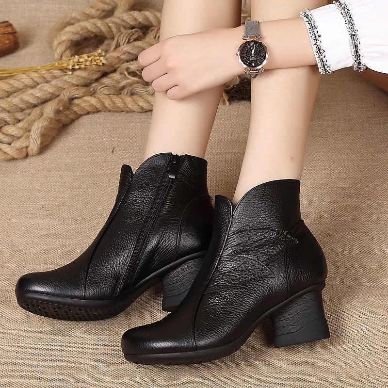GKTINOO sonbahar kış kadın hakiki deri yarım çizmeler kadın rahat ayakkabılar kadın su geçirmez sıcak kar botları bayan ayakkabıları