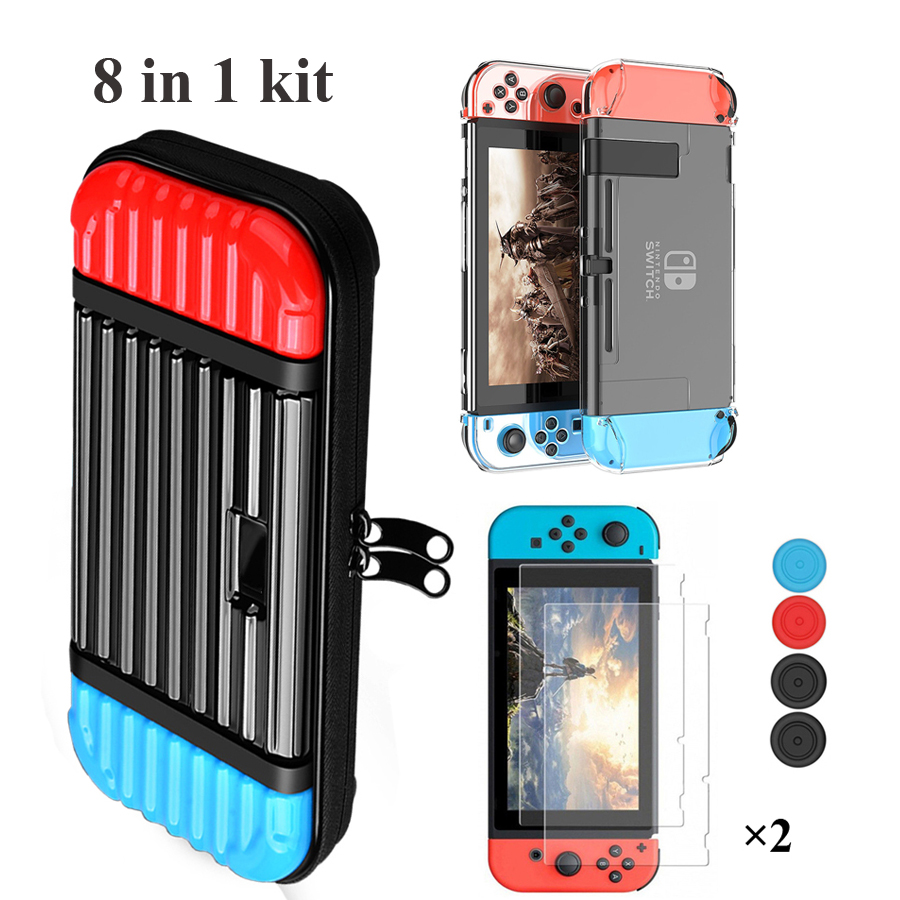 Nintendos Nintend Switch Travel Carry Bag Case & 2 Tempered Glass Film & Crystal Hard Shell & 4 Analog Cap for Nintendoswitch(China)
