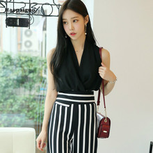 цена на 2 Piece Set Women Summer Black V-neck Tank Sleeveless Elegant Office Ladies Top and Black Striped Korean Casual OL Pants Vestido